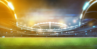 Stadium in lights and flashes 3d. Stock Photography