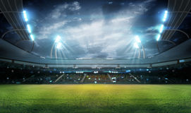 Stadium in lights and flashes 3d. Royalty Free Stock Photography