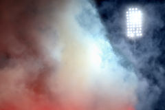Stadium lights and smoke Stock Image