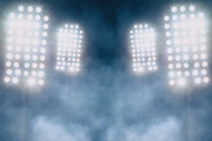 Stadium lights and smoke Stock Photos