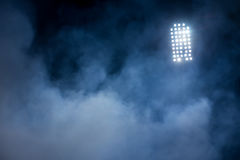 Stadium lights and smoke. With lens flare effect picture Royalty Free Stock Photos