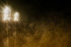 Stadium lights and smoke Stock Photo