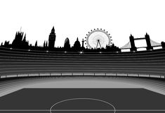 Stadium and London skyline. Illustration of the stadium and London skyline. London - organizer of the Olympic Games 2012 Royalty Free Stock Photography