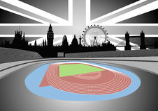 Stadium with London skyline - vector. Illustration of the stadium with the London skyline on the horizon - vector Royalty Free Stock Images