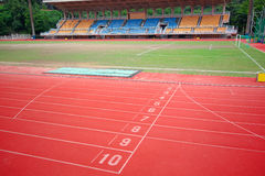 Stadium main stand and running track Stock Photography