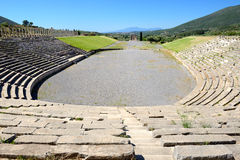 The stadium with mausoleum in ancient Messene (Messinia) Stock Photos