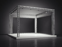 Stadium met metaalkader in donkere studio het 3d teruggeven Royalty-vrije Stock Foto
