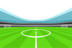 Stadium midfield view with clear white sky vector Royalty Free Stock Image