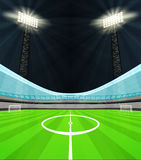 Stadium midfield view with shiny reflectors at night vector Royalty Free Stock Images