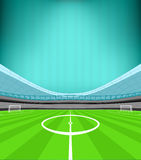 Stadium midfield view with striped background vector Royalty Free Stock Images