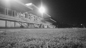 Stadium. Midnight stadium in black and  white Stock Image