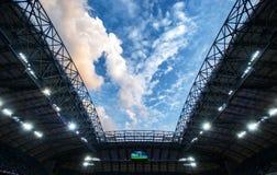 "Sky view at Stadion Miejski, Poznan. Beautiful evening skyscape at ""Stadion Miejski"" stadium at Poznan Stock Images"