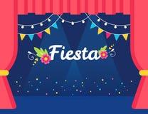 Stadium mit Flaggen und Licht-Girlanden und Fiesta-Zeichen Mexikanische Thema-Partei-oder Ereignis-Einladung Lizenzfreie Stockfotos