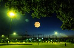 Stadium moon night. Night shot of the Alps Stadium in Turin, Italy stock images