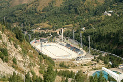 Stadium at mountains Royalty Free Stock Photography