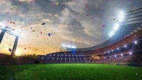 Stadium Moving lights, animated flash with people fans. 3d render illustration cloudy Confetti and tinsel. Stadium Moving lights, animated flash with people fans stock illustration