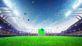 Stadium Moving lights, animated flash with people fans. 3d render illustration cloudy day. Sky Confetti and tinsel royalty free illustration