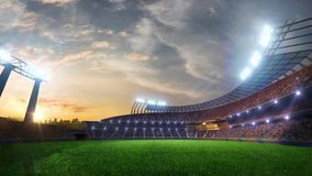 Stadium Moving lights, animated flash with people fans. 3d render illustration cloudy