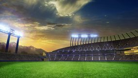 Stadium Moving lights, animated flash with people fans. 3d render illustration cloudy sunset sky. Stadium Moving lights, animated flash with people fans. 3d vector illustration