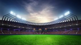 Stadium Moving lights, animated flash with people fans. 3d render illustration cloudy sunset sky