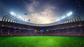 Stadium Moving lights, animated flash with people fans. 3d render illustration cloudy sunset sky. Stadium Moving lights, animated flash with people fans. 3d stock illustration