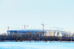 Stadium mundial 2018 construction. Postov-on-Don, 7 febriary 2017. The left bank of the Don river.  Royalty Free Stock Photo