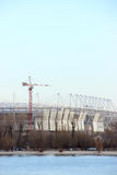 Stadium mundial 2018 construction. Postov-on-Don, 7 febriary 2017. The left bank of the Don river.  Royalty Free Stock Images