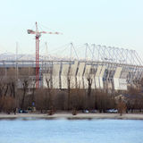 Stadium mundial 2018 construction. Postov-on-Don, 7 febriary 2017. The left bank of the Don river.  Stock Photography