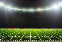 Stadium night. Lit. with green grass Royalty Free Stock Photography