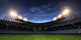 Stadium night without people 3d render. Stadium night light without people 3d render royalty free illustration