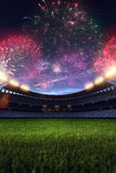 Stadium night without people fireworks 3d render. Stadium night light without people fireworks 3d render Royalty Free Stock Photos