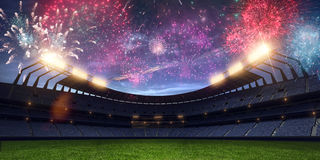 Stadium night without people fireworks 3d render. Stadium night light without people fireworks 3d render royalty free stock images