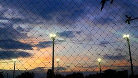 Stadium at night. The sports Stadium in the evening with colorful sky Stock Photos