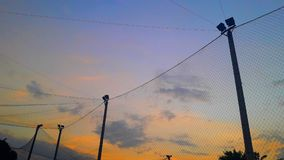 Stadium at night. The sports Stadium in the evening with colorful sky Royalty Free Stock Photos