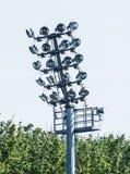 Stadium oświetleniowa scena, elektryczny wyposażenie Fotografia Stock