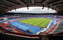 Stadium Parc des Princes, Paris. France. Field of play without players and public Stock Image