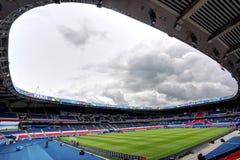 Stadium Parc des Princes, Paris. France. Field of play without players and public Stock Photo