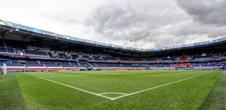 Stadium Parc des Princes, Paris. France. Field of play without players and public Royalty Free Stock Photos