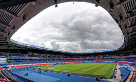 Stadium Parc des Princes, Paris. France. Field of play without players and public Stock Images
