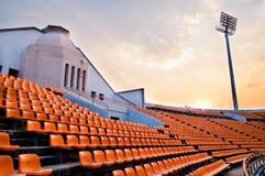 Stadium piłkarski na wieczór. Obrazy Royalty Free