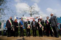 Stadium politiek in 25 april 2010 Italië, marzabotto royalty-vrije stock fotografie