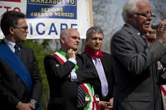 Stadium politiek in 25 april 2010 Italië, marzabotto Stock Fotografie
