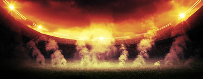 Stadium - protest. An imaginary stadium is modelled and rendered Royalty Free Stock Photography