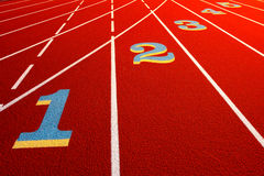 Stadium Race Track White Lines and Lane Numbers Stock Image
