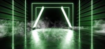 Stadium rauchen psychedelische Sci FI Neonlaser-Raumschiff-zukünftiger dunkler Korridor-glühendes Frischbeton-Schmutz-Hallen-vibr vektor abbildung