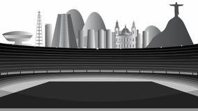 Stadium With Rio de Janeiro On The Horizon stock video