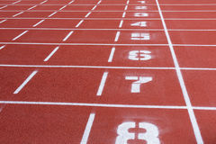 Stadium rubber running tracks with numbers Stock Image