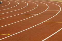 Stadium with running tracks Royalty Free Stock Images