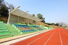 Stadium with running tracks. A stadium with running tracks in a University Royalty Free Stock Photography