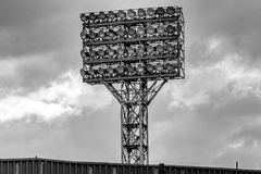 Stadium`s lighting tower. Photo of the stadium`s lighting tower with a lot of spotlights Stock Image